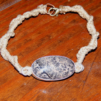 Dendritic Opal Hemp Bracelet - The Stone of Prosperity - Clears Karma from Past Lives - Turns Dreams Into Reality - Free U.S. Shipping