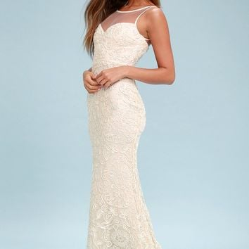 Nathalie Cream Embroidered Maxi Dress