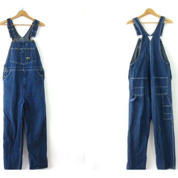 Vintage OSHKOSH dark wash Blue Denim Jean Bib Overalls Work Pants Carpenter Pants Bibs Hillbilly Grunge Men's Size 36 x 32