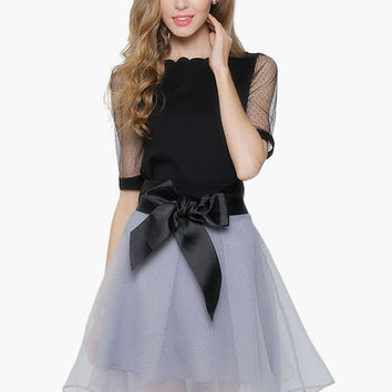 Sheer Sleeve Scallop Neckline with Waist Tie Mini Dress