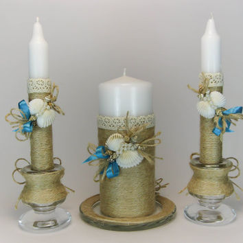 Handmade Rustic Wedding Unity Candles, Seashells, Beach Wedding, Pillar Candle, Taper Candles, Personalized Candles, Unity Candle Set