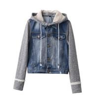 Fashion Women Knit Hooded Jeans Outerwear Jacket a13214