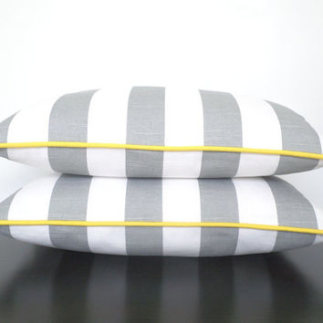 Grey and yellow pillow cover 20x12, ash gray couch cushion, color stripe lumbar cover , striped bedroom cushion, gray modern throw pillow