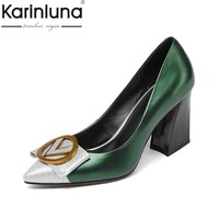 KARINLUNA fashion cow leather size 34-39 black Women Pumps high heels Pointed Toe Office Ladies Shoes Woman party dating