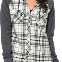 Empyre Sycamore Mint & Charcoal Hooded Flannel