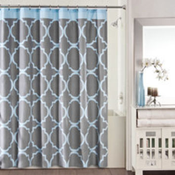 Studio 3B Jay Fret Shower Curtain - Grey/Blue - Bed Bath & Beyond