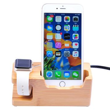 3-Port USB Bamboo Wood Charging Station with Smart Watch Stand