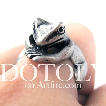 Frog Toad Animal Wrap Around Hug Ring in Silver - Size 4 to 9 Available