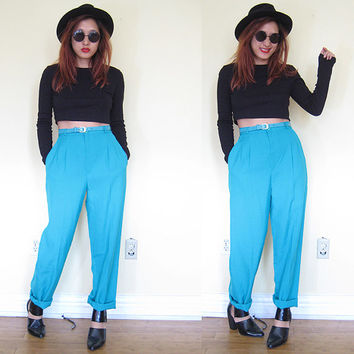 Vintage highwaisted pants with matching belt teal green menswear tomboy baggy slacks