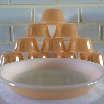 "Fire King Peach Lustre Custard / Dessert Bowls / 9"" Pie Plate"