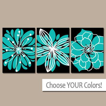 Turquoise Black Wall Art, CANVAS or Prints Bedroom Decor, Turquoise Bathroom Wall Decor, Flower Outline Burst, Dahlia Set of 3 Home Decor