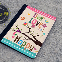 Whimsical Birds Live, Love & Be Happy iPad 2/3/4 Folio Case