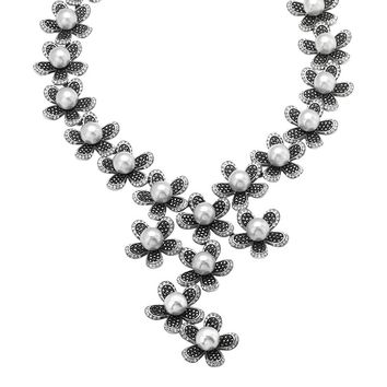 Sterling Silver Marcasite, Simulated Pearl & Simulated Crystal Flower Y Necklace (Black)