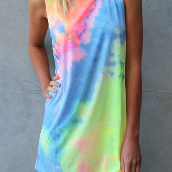 Women SummerTie Dye Rainbow Dress