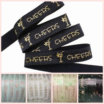 """4 colors 5/8"""" gold foil champagne CHEERS FOE fold over elastic 50yards/lot welcome custom printed"""