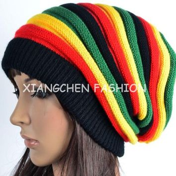 HOT Sales Bob Marley Jamaican Reggae Cap Multi-colour Striped Rasta Hat Slouchy Baggy Beanie Skullies Gorro For Women