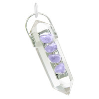 Crystal Point Wand Rock Crystal Quartz with Amethyst Pendant