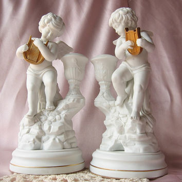 Vintage Franklin Mint Porcelain Cherub Candle Holders