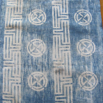 Antique early Meiji Japanese cotton indigo dyed katazome fabric