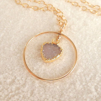 White Arrowhead Druzy Necklace 24K Gold Bohemian Boho Drusy Hoop Triangle Crystal Quartz Natural Gold Filled Jewelry Free Shipping Jewelry