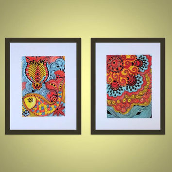 FISH Fine art PRINT- yellow orange blue ink and acrylic painting