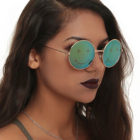 Smile Face Round Wire Rim Sunglasses