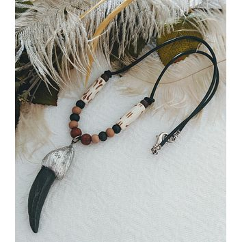 One of a Kind Silver Leather Bone Wood Necklace