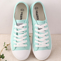 New Women Canvas Shoes Casual Lace-Up Cute Spring Candy Colors Ladies Flats white  Shoes Woman   ac48