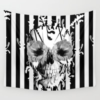 Limbo, Skull with poppy eyes Wall Tapestry by Kristy Patterson Design