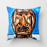 Happy Potamus Throw Pillow by Claudia McBain
