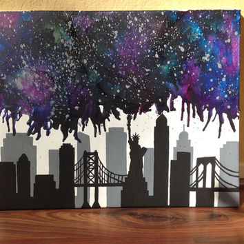 New York City skyline nebula melted crayon art