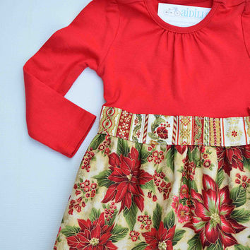 Size 3T Girls Christmas Dress Tshirt Poinsettia Red and Gold Traditional Holiday Tunic Ready to Ship Metallic Fabric Handmade Boutique