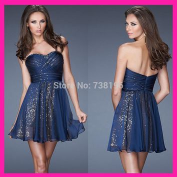 Shiny A-Line Homecoming Dresses chiffon sweetheart cocktail dress short with sequins for women 2016