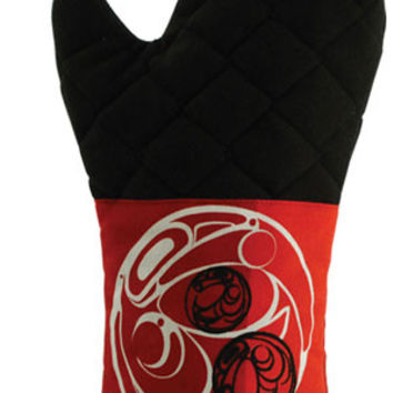Oven Mitt with Contemporary Raven and Sun Design in Red