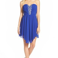 Junior Women's Way-In Jeweled Inset High/Low Strapless Dress,