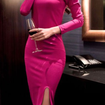 Skew Neck Long Sleeve Slit Dress