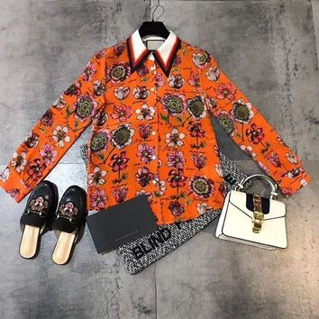 DCCK6HW Gucci' Women Temperament Fashion Flower Letter Print Silk Long Sleeve Cardigan Multicolor Lapel Shirt Tops
