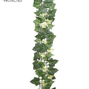 UV Protected Silk Ivy Leaf Garland in Two Tone Green - 3' Long