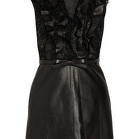 Valentino | Belted leather and lace dress | NET-A-PORTER.COM