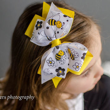 Honey Bee Hair Bow Headband - Hair Bow - Bumble Bee - Girls Hair Bows - Large Bows
