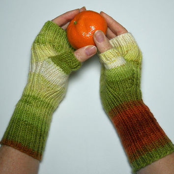 Hand Knit Fingerless Gloves, Texting Gloves, Fingerless Mitts, Hand Warmers in Green, White and Orange, Gift for Her, Mothers Day Gift