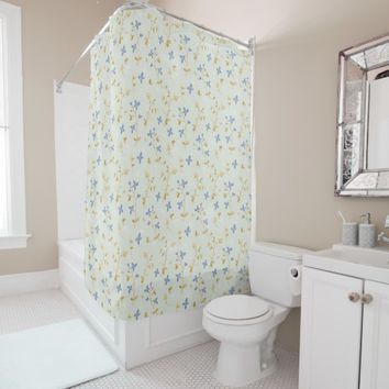 Vintage Hand Drawn Floral Shower Curtain