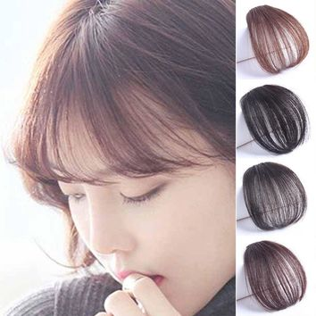 Women Natural Thin Neat Air Bangs Hair Extension Clip Fringe Front Hairpiece Wig