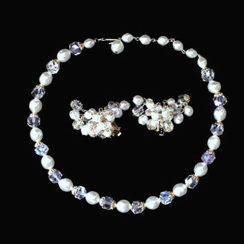 Pearl And Aurora Borealis Crystal Bridal Jewelry Set
