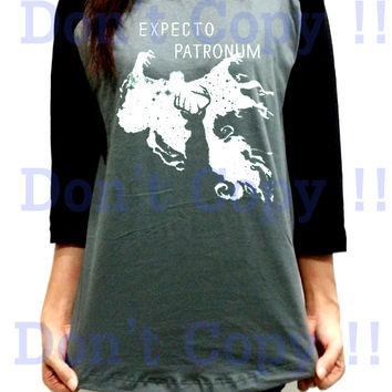 Expecto Patronum Harry Potter Unisex Men Women Dark Gray Long Sleeve Baseball Shirt Tshirt Jersey