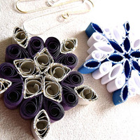 handmade paper quilled  Christmas snowflake ornaments – set of two