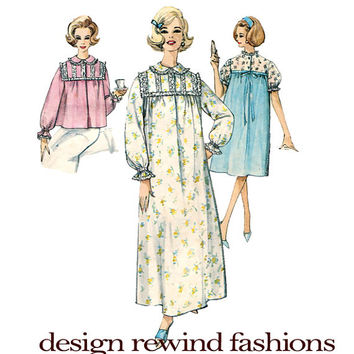 1960s Nightgown Pajamas, Bedjacket Peter Pan Collar Long Short Sleeves Gathered Ruffled Ends Simplicity 4171 Bust 36 Vintage Sewing Patterns