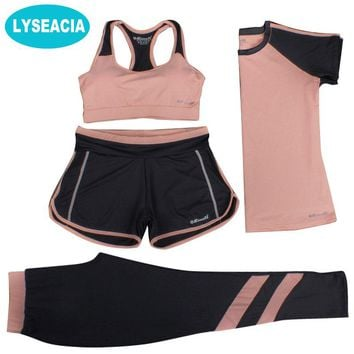 LYSEACIA M-3XL New Sports Suit Women Yoga Set Fitness Suit Sports Bra T-shirt Shorts Sports Pants 4 IN 1 Sportswears Breathable