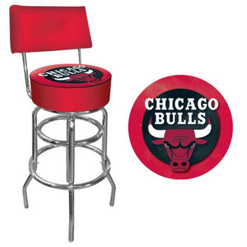 Chicago Bulls NBA Padded Swivel Bar Stool with Back