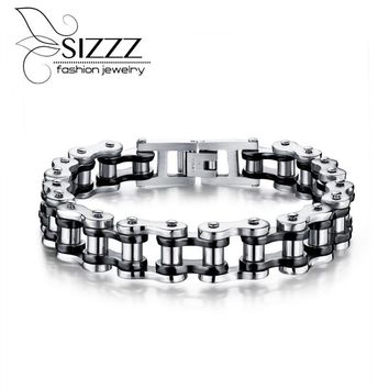 SIZZZ 21.5cm long 13mm wide 2017 new jewelry direct stainless steel personalized motorcycle chain Bracelet&Bangles for men